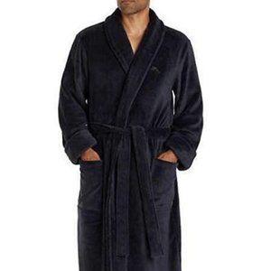 New Men's TOMMY BAHAMA Solid Black Plush Robe